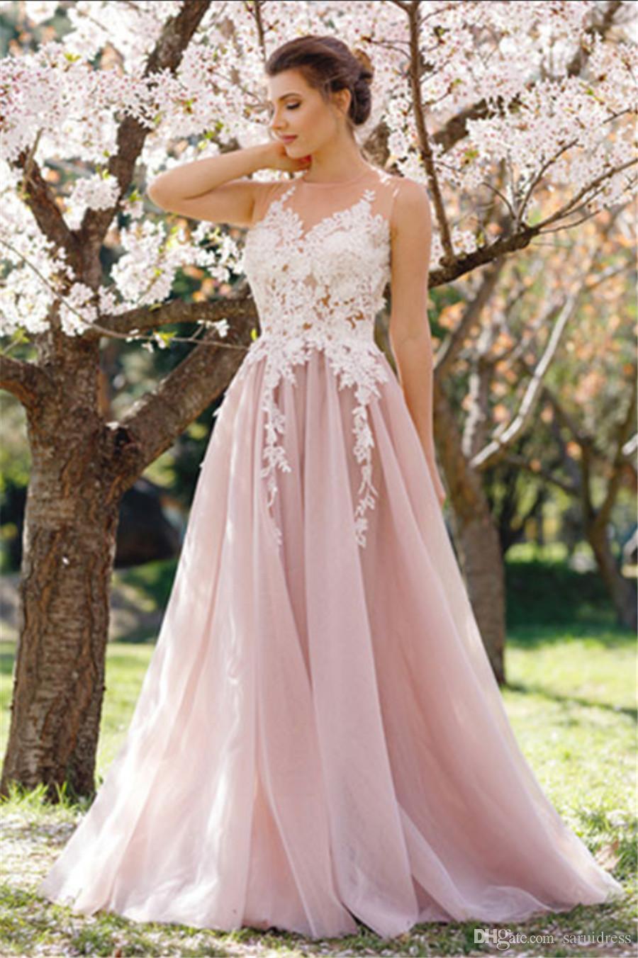 Прозрачное декольте без рукавов Розовое платье для выпускного вечера Тюль Длинное кружевное вечернее платье Аппликация Вечернее платье