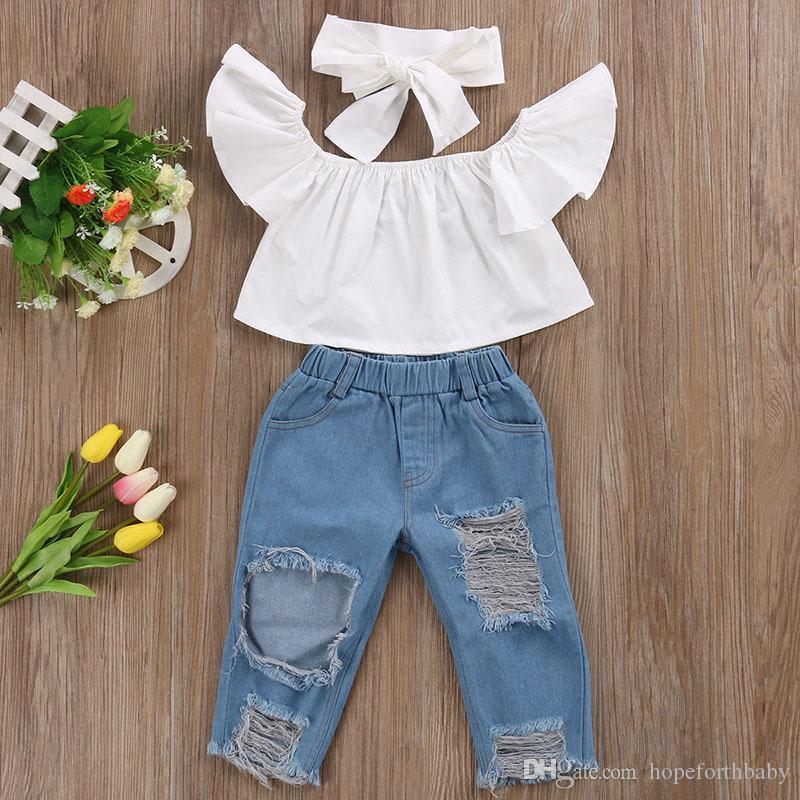 Nouveau Mode Enfants Filles Vêtements Hors épaule Crop Tops Blanc + Trou Denim Pant Jean Bandeau 3 PCS Enfant Enfants Vêtements Ensembles Bébé
