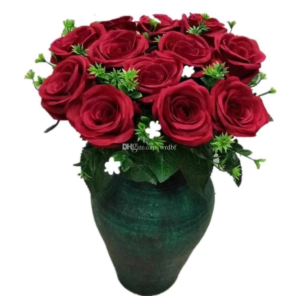 Um Rose Flower Bunch (12 Cabeça / Peça) 47 cm Falso Rose Bouquet VERMELHO / BRANCO / ROSA / AZUL para o Casamento Da Noiva Bouquet Artificial Flores Decorativas