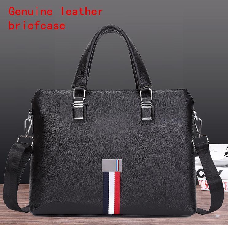 Factory direct selling brand men bag fashion color ribbon weaving men Handbag Shoulder Bag cowhide handbag soft leather business briefcase