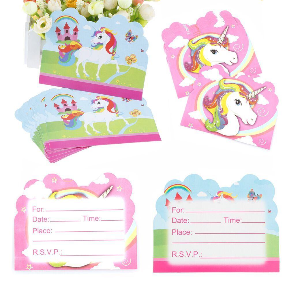 Compre 10 Unids Lote Lovely Unicorn Tema De Dibujos Animados Fiesta De Invitación De Papel Tarjeta De Invitación Decoraciones Para Niños Baby Shower