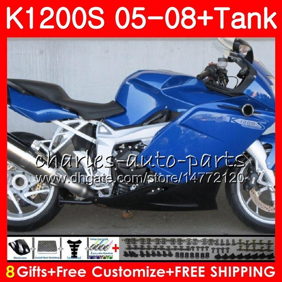 Carrosserie pour BMW K1200 S K 1200 S 05 10 K1200S 05 06 07 08 09 10 103HM.15 K-1200S K 1200S 2005 2006 2007 2008 2009 2010 Kit de carénage bleu brillant