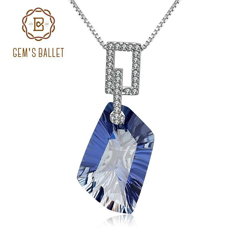 GEM'S BALLET 21.20Ct Natura Iolite Bleu Mystique Quartz Gemstone Pendentif Collier 925 En Argent Sterling Fine Jewelry pour Femmes S18101307