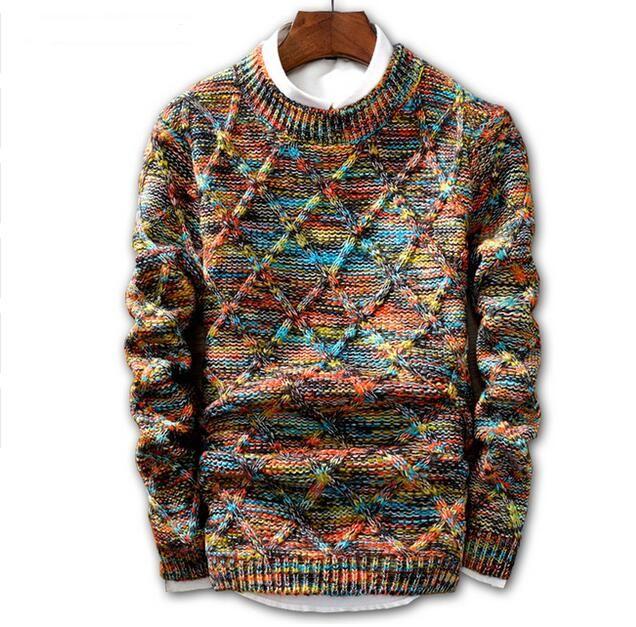 JIN JUE LES Sweater Homens moda 2020 pulôver Masculino O-Neck stripe Slim Fit tricô Mens Camisolas Man Pullover Homens