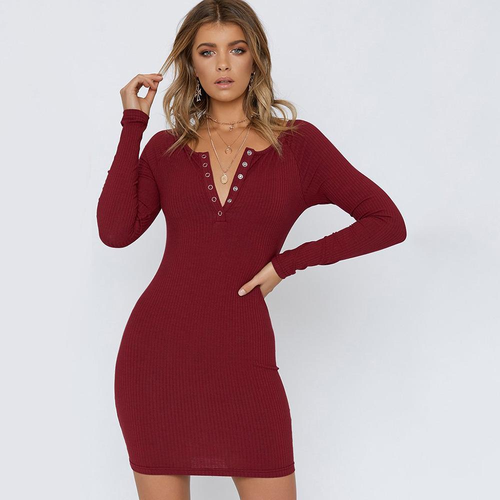 S-XL femmes automne hiver v cou robe à manches longues dame serré slim casual marque robe de loisirs