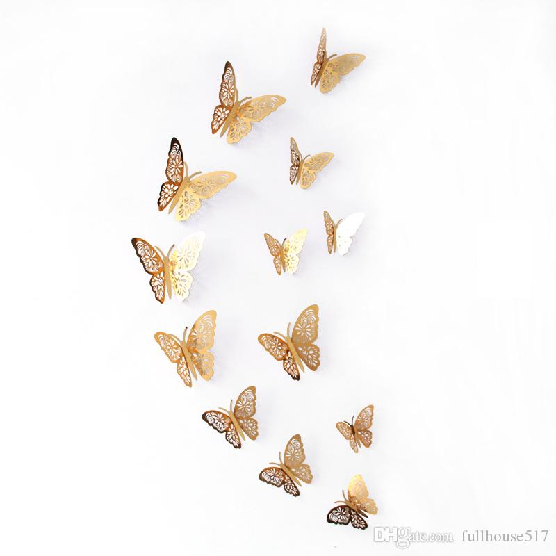 Boda del brillo etiquetas murales de arte de la pared pegatinas Nevera etiqueta de decoración de interior partido de la mariposa mariposa del oro la plata Calcomanías ahueca hacia fuera 3D