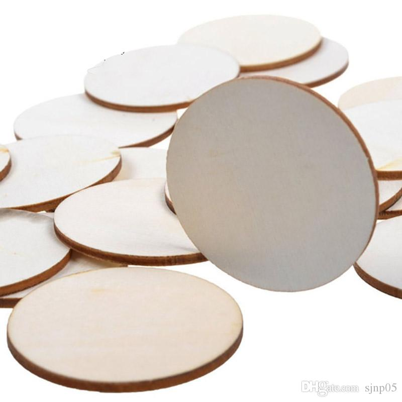 Wooden Craft Circles Round Chips 32mm Mini Wood Cutouts Ornament Blank Disc DIY Painting Tag Decoration Wooden Art Crafts Wholesale