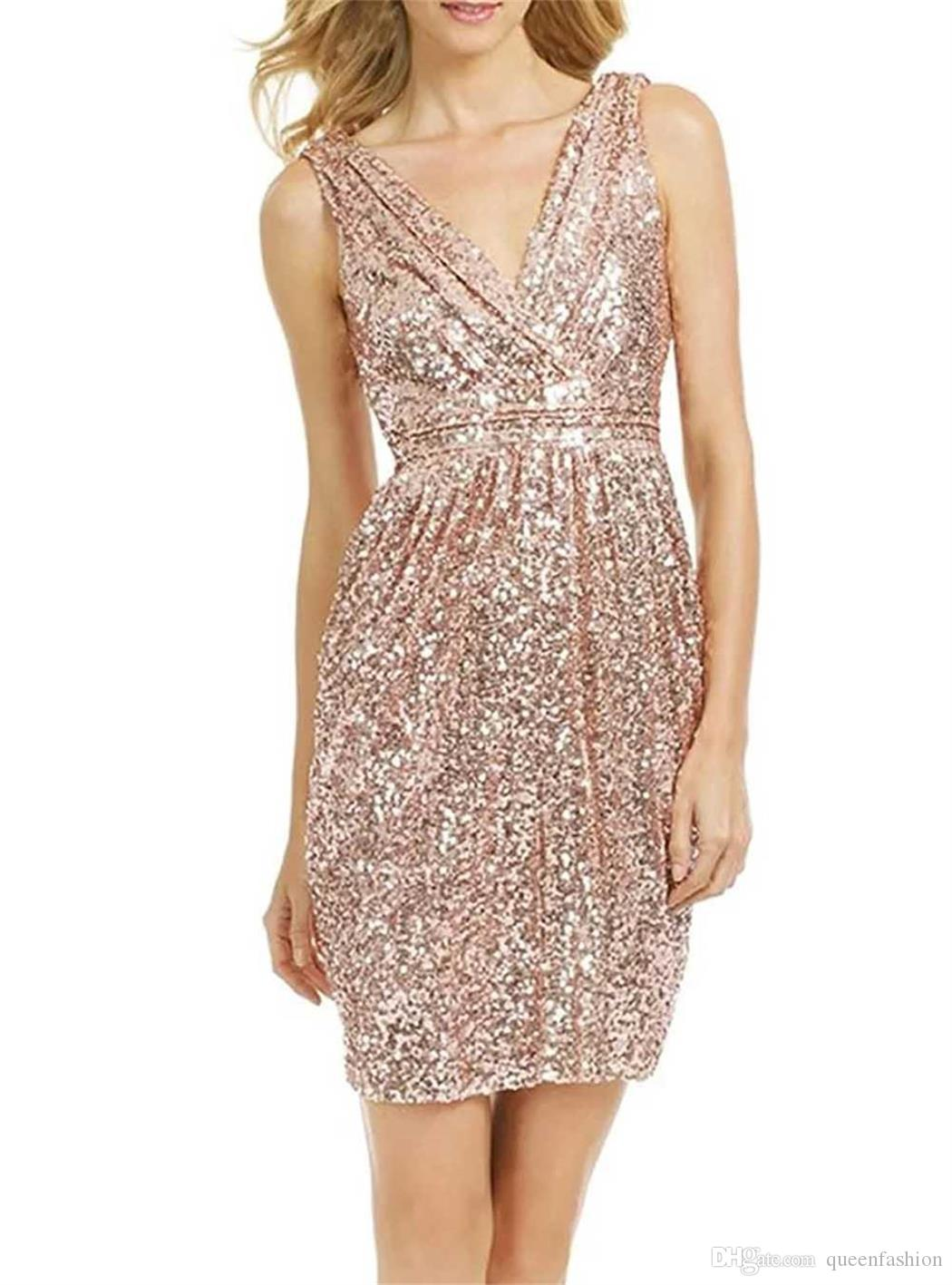 Rose Gold Sequin Bridesmaid Dresses V-neck Sheath Short Bridesmaid Gowns Summer Beach Maid of Honor Dresses Cheap Special Occasion Dresses