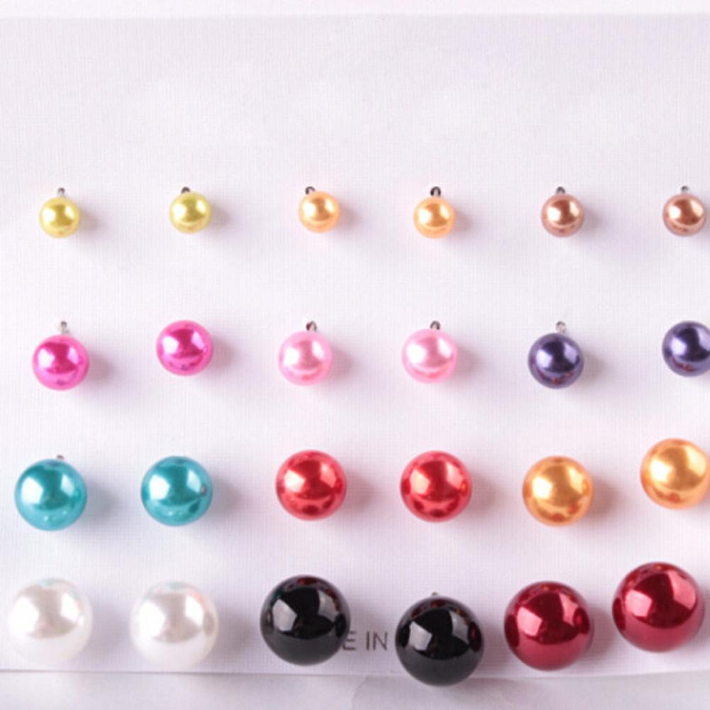 Yeni moda 12 renkler İnci piercing Damızlık Küpe 12mm Mix Boyutu 1 kart 12 pairs Renkli küpe kadınlar Lady Takı
