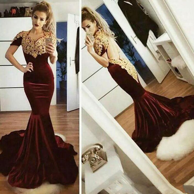 New 2019 Burgundy Velvet Prom Dresses Fancy Vstido De Fiesta Gold Lace Appliqued Sexy Open Back Short Sleeves Mermaid Formal Evening Dresses