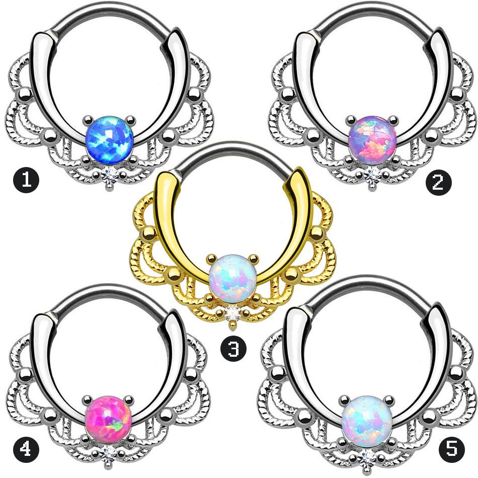 Lacey Opal Gem Septum Ring Rook Clicker Anillo de la nariz Titanium Shaft 16G Suspensión Body Piercing Jewelry para mujeres color mezclado 20pcs