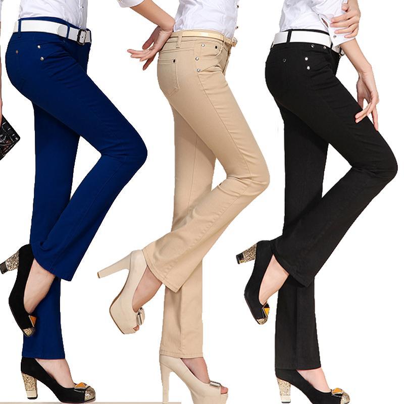 Nevettle Şeker Renk Skinny Flare Pantolon Kadınlar Bayanlar Ofisi Orta Bel Cep Denim Pantolon Pantolon Pantalon Mujer