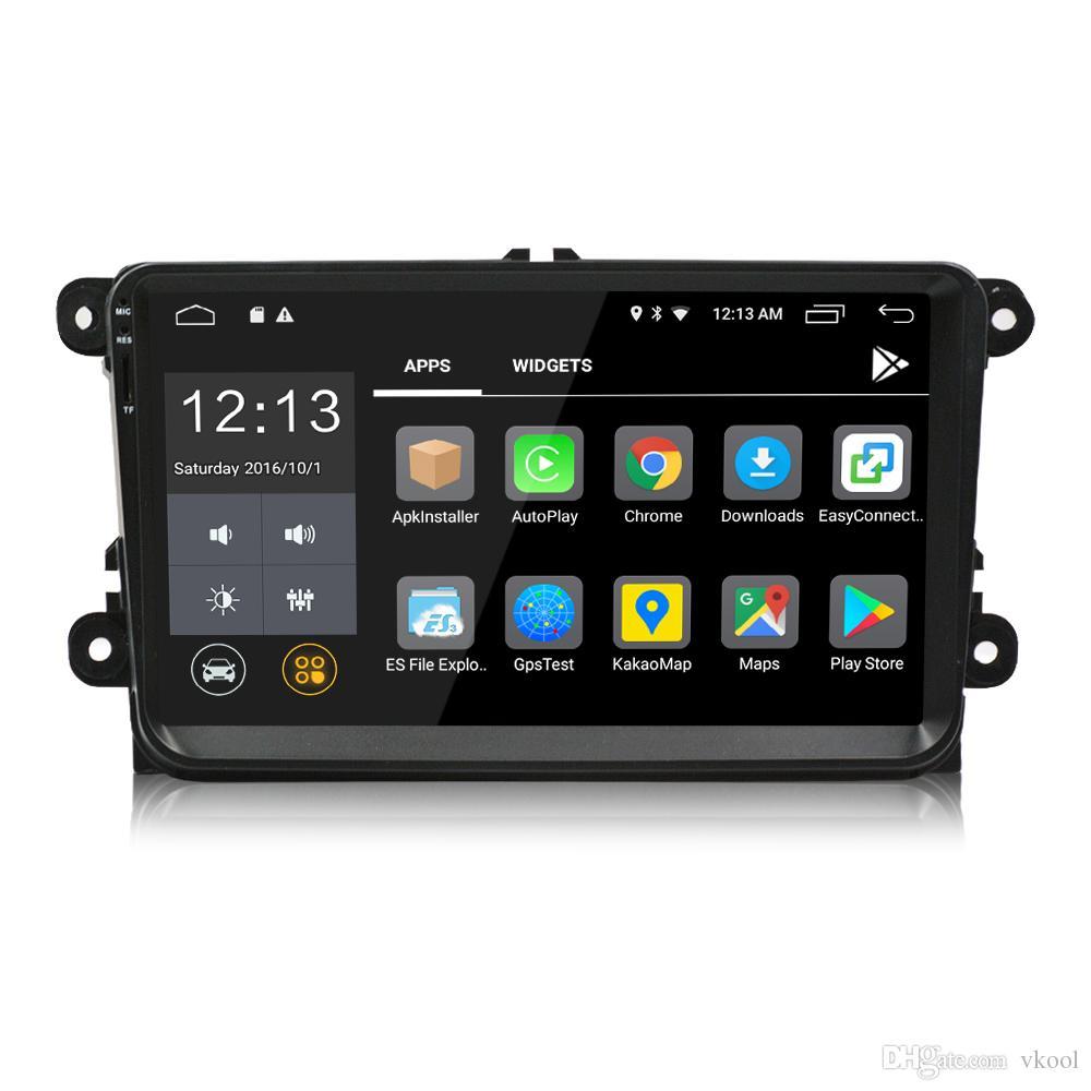 2 Din 9 inç Android 8.0 Araba DVD Oynatıcı GPS Navigasyon Stereo Radyo Için VW / Volkswagen / Passat / Jetta / Tiguan / Touran / POLO / Golf / Skoda / Octavia / deniz