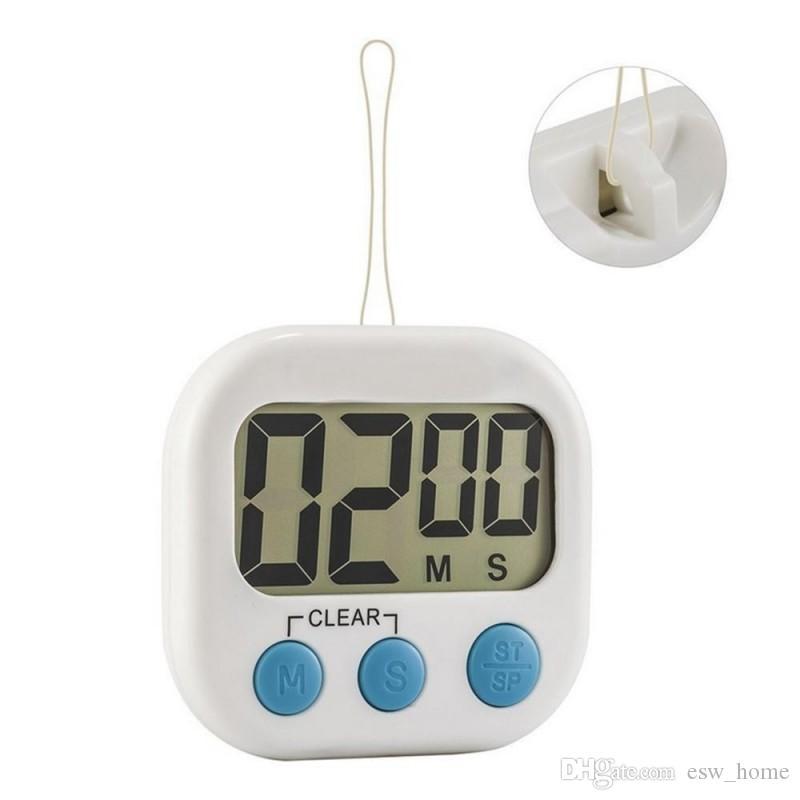Magnétique LCD Numérique Cuisine Compte à rebours Alarme avec Support Blanc Cuisine Minuterie Pratique Cuisine Minuterie Réveil