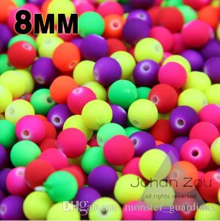 JHNBY En kaliteli 100 Adet Karışık Şeker Renk Akrilik Kauçuk Boncuk Neon Mat 8mm Yuvarlak spacer gevşek boncuk Fit Takı El Yapımı DIY