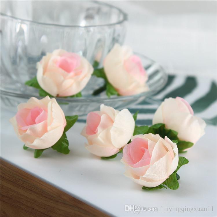 Venta al por mayor 200 unids Cabezas de flores artificiales Rosa Artificial Rose Bud Flores artificiales para la boda Decoraciones Fiesta de Navidad de seda de flores