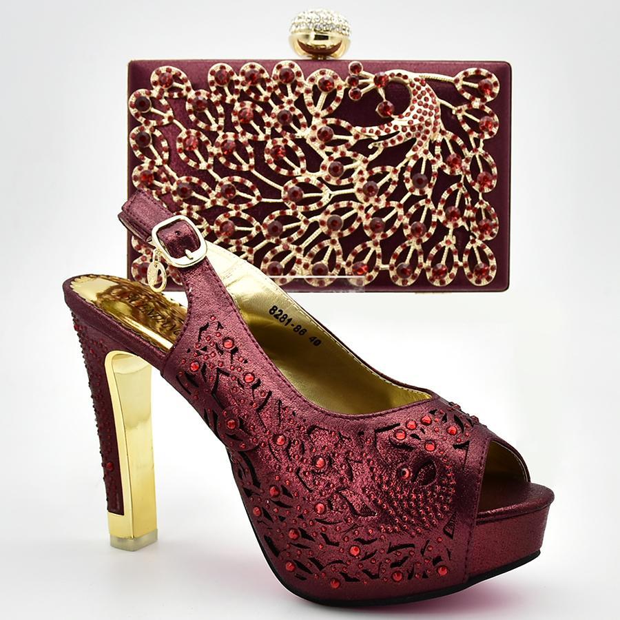 Обувь и соответствующий мешок для партии Нигерии итальянские дамы обувь и сумки, чтобы соответствовать набор украшен горный хрусталь африканских женщин обувь