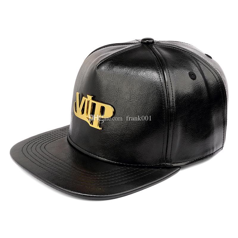 새로운 골드 문자 VIP 야구 모자 PU 가죽 캐주얼 플랫 허리띠 버클 조정 가능한 쿨 Snapback 뼈 힙합 남자 모자
