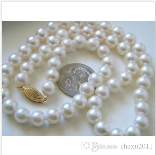 2019 real 9-10mm south sea white natural pearl necklace 19 inch 14K gold marked !