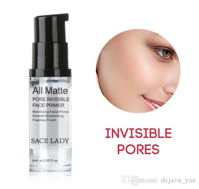 Kostenlose DHL DSACE LADY Alle Matte Pore Invisible Face Primer Glättung Feuchtigkeitsspendende Makelloses Finish Make-up Basis Probengröße 6ml Facial Make-up