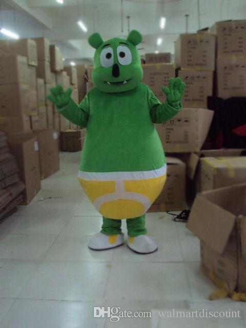 2018 горячая продажа зеленый клейкий медведь талисман костюм маскот фантазии платье Бесплатная доставка