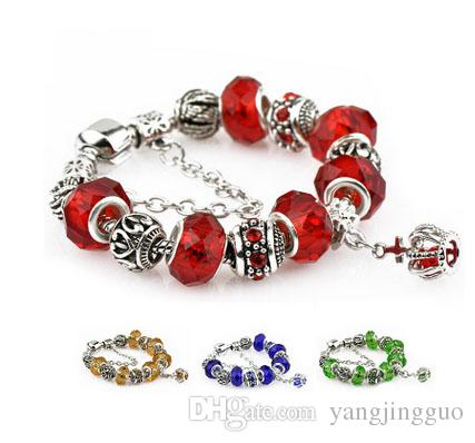 Crystal bead bracelet large bead bracelet pan duo hand-pull strings available in seven colors Free shipping