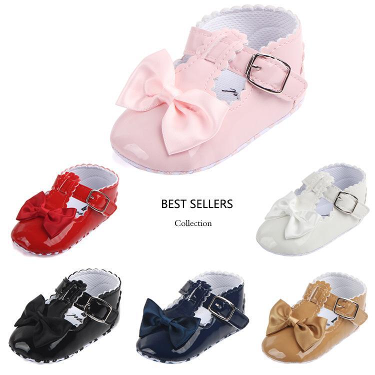 아기 신발 신생아 유아 유아 아기 소녀 활 매듭 가죽 신발 부드러운 단독 안티 - 슬립 아기 첫번째 워커