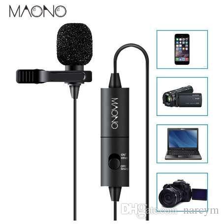 MAONO Lavalier Microphone Omnidirectionnel Condensateur Micro-cravate Clip-on pour iPhone Smartphone Canon DSLR Caméra PC Ordinateur Portable