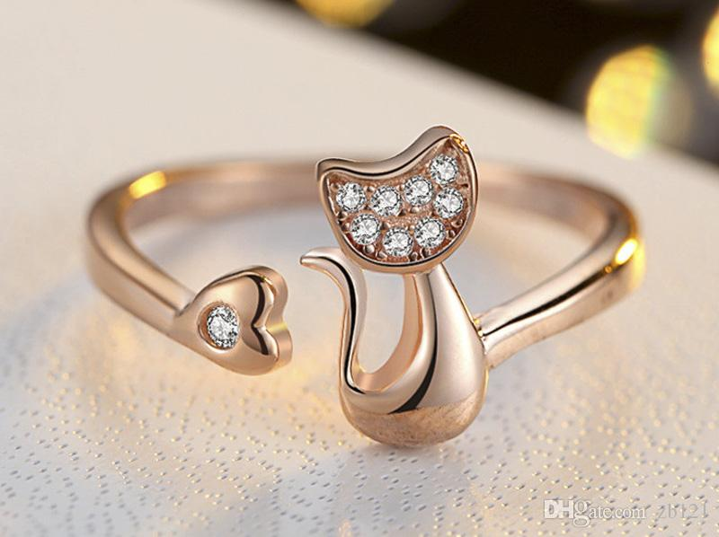 New Charm Crystal Top Quality Cubic Zirconia Crystal Inlaid Cute Animal Cat Ring for Women/Girls