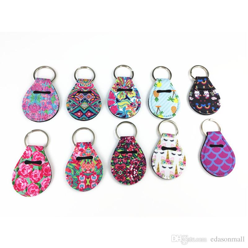 Coin Holder Chapstick Holder Neoprene Keychain Key Holder Floral Print with Metal Ring Support FBA Drop Shipping (Random Color Send) H731Q