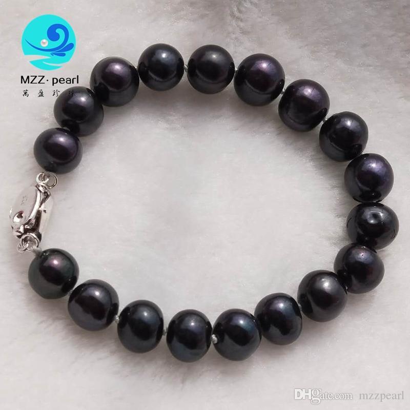 fashoin de joyería redonda de la patata freshater negro brazalete de perlas cultivadas diseña para las mujeres