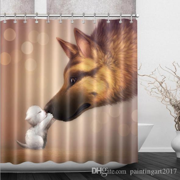 3D 고양이 개 패턴 샤워 커튼 대형 에디션 인쇄 샤워 커튼 방수 폴리 에스터 목욕 커튼 욕실 제품 바닥 매트 세트