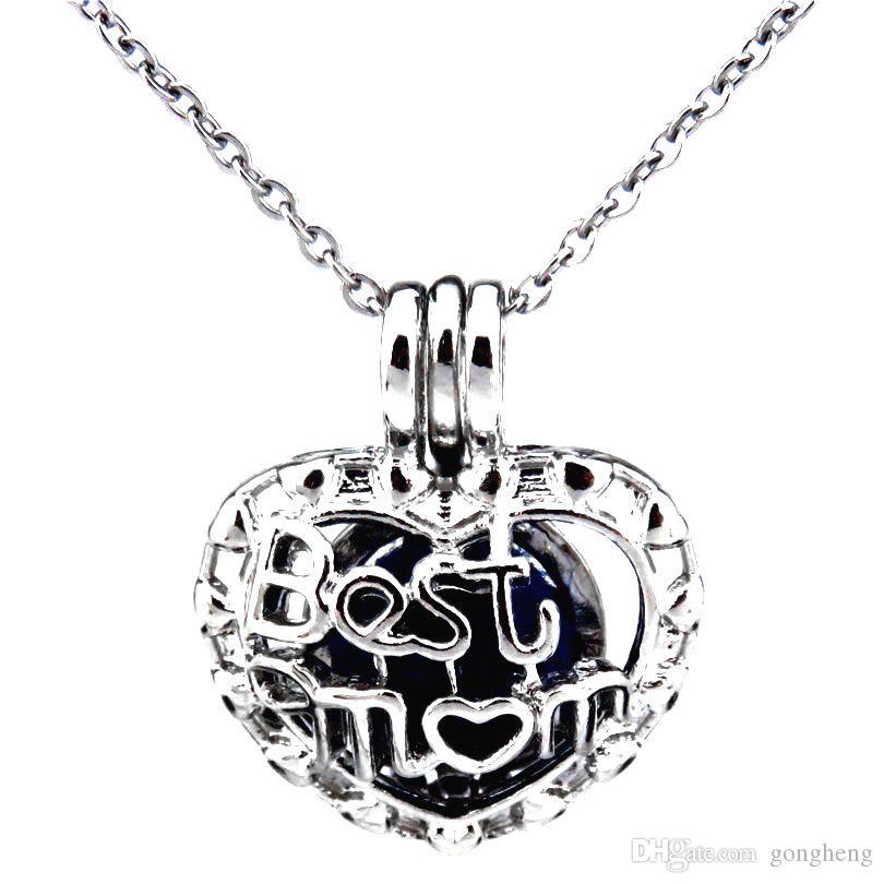 5x Silver Mother/'s Love COEUR PERLE CAGE Médaillon Pendentif Huile Essentielle Diffuseur