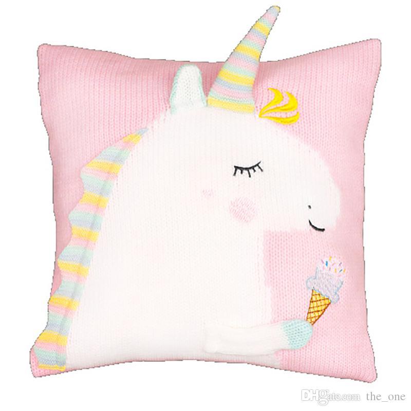 3 Colors 45*45cm Unicorn Doll Unicorn Plush Toy Cartoon Unicorn Knitted Pillow Cartoon Accessories Kids Xmas Gifts