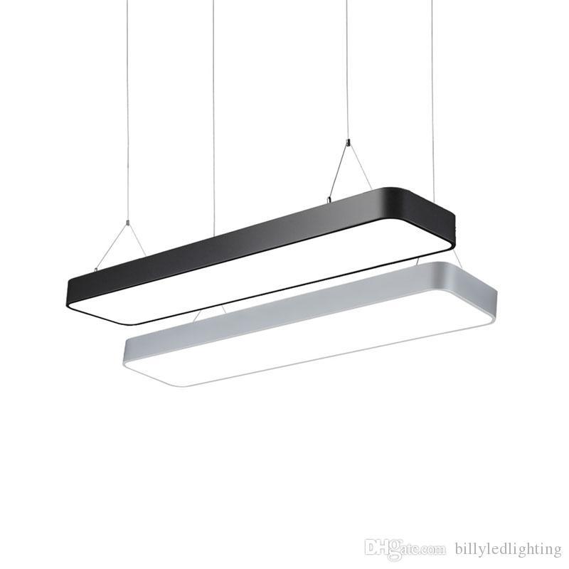 Moderne Fer LED forme rectangulaire Pendentif en métal Light Pendant Fixtures Luminaria Pour Salon Salle à manger Bureau Chambre Restaurant Hanging Lampes