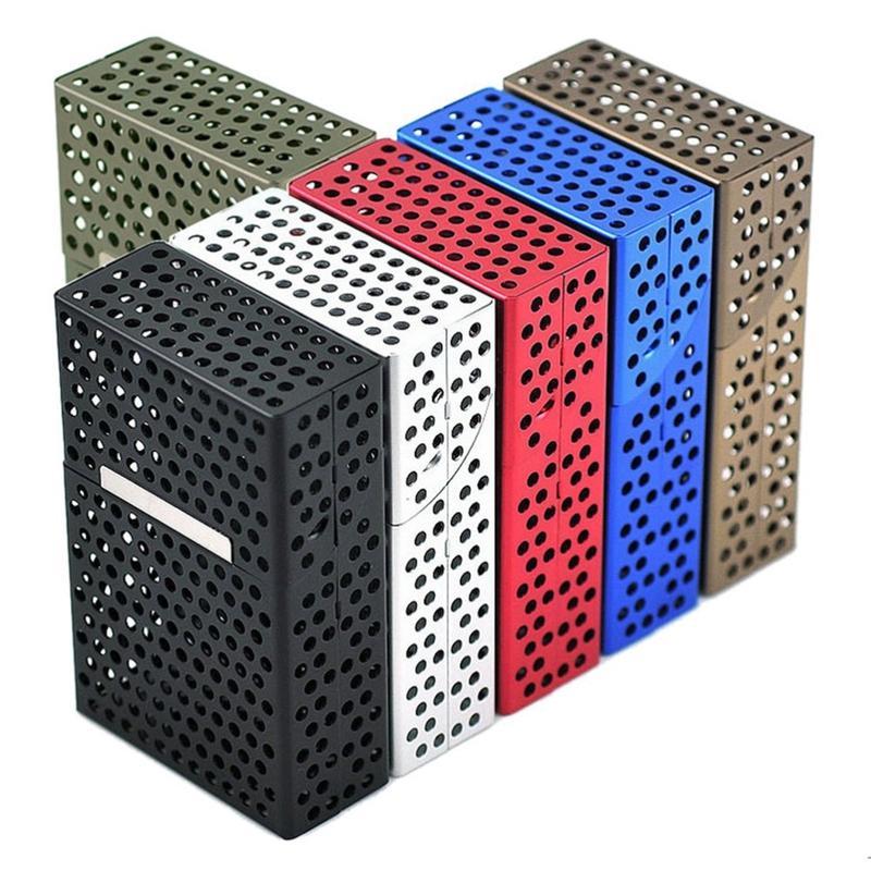 Neueste Aushöhlen Bunte Zigarettenetui Aluminiumlegierung Aufbewahrungsbox Hochwertige Exklusiver Design Magnet Flip Schöne Farben DHL Frei