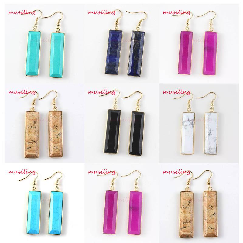 Crystal Earrings Drop Jewelry For Women Gold Plated Earring Natural Gem Stone Charms Geometric X Stud Earrings Fashion