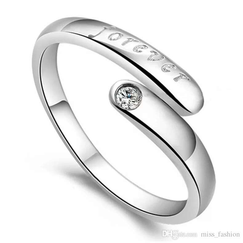 Zilveren kristallen ring sieraden bruiloft enkele ring voor altijd brieven vintage charmes nieuwe aankomst gratis verzending