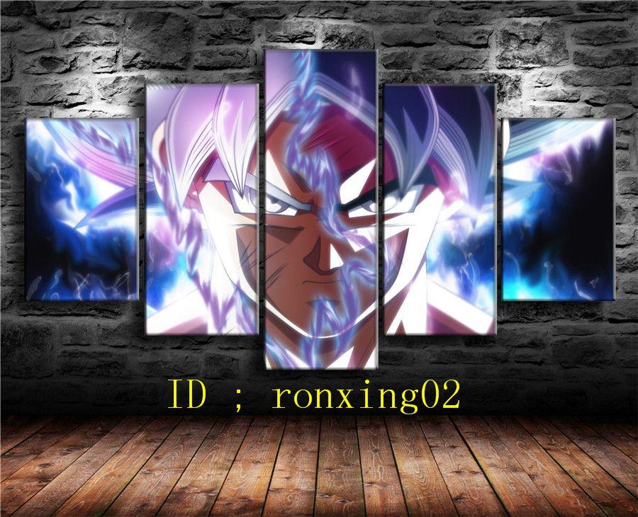 Canvas Wall Art Home Decor Resin Dragon Ball Goku Ultra Instinct 5 Piece Print