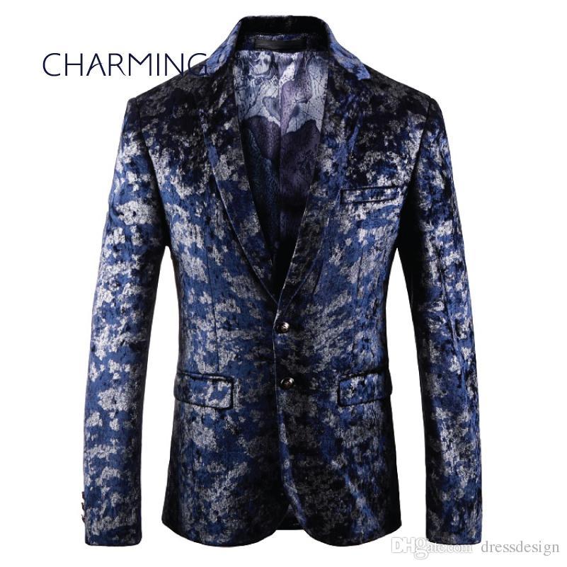 Trajes de diseñador, chaqueta de traje caballero, tela impresa digital de alta calidad, adecuada para el rendimiento del cantante, vestido de fiesta