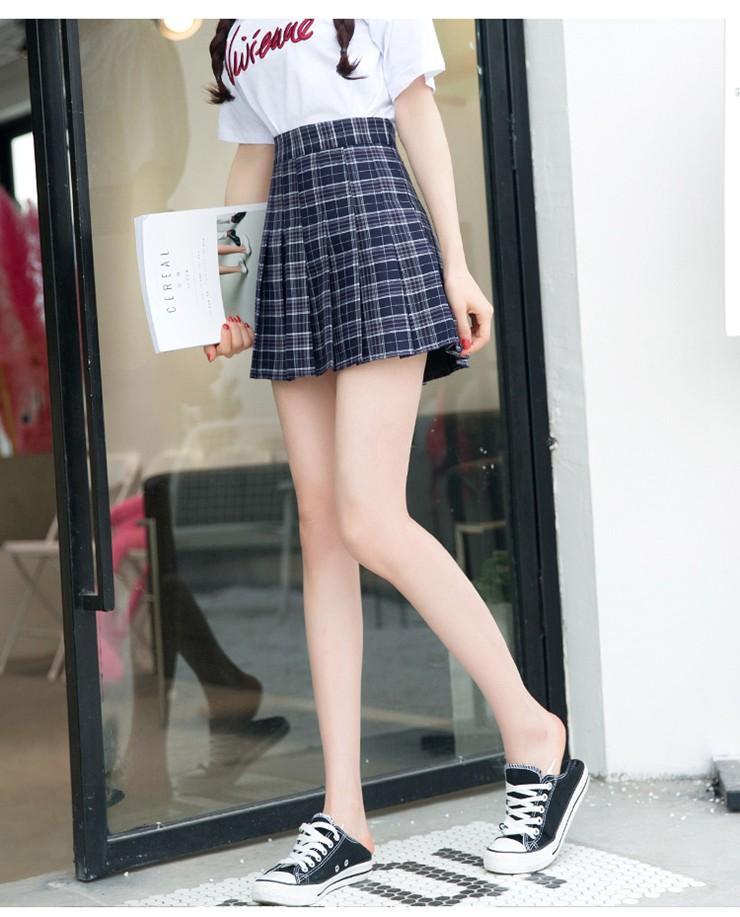 Fashion Summer Skirt Women 2018 Ete Skirts Casaul Pleated Ladies Skirts High Waist Mini Skirt Female Skirt Plaid Saia Jupe Femme (13)