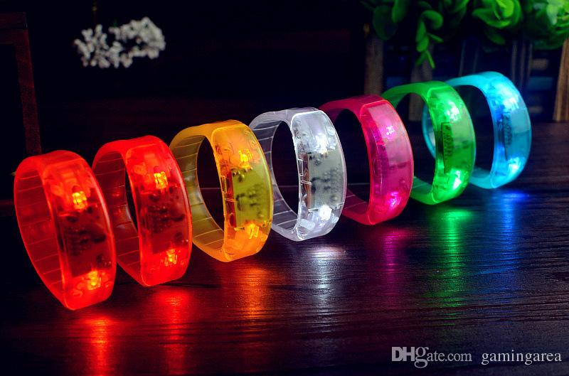 Voice Control Sound Activated Flashing Led Bracelet For Party Clubs Concerts light up Wrist Band Shining Cheering Wristband FREE SHIPPING