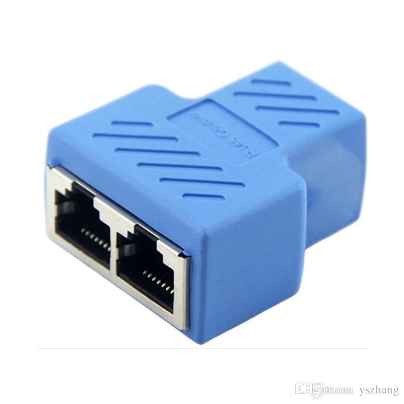10pc / Batch RJ45 Adaptador 8P8C Extensor de Rede Cabo de Extensão de 1 a 2 Dupla Porta Fêmea Adaptador Ethernet CAT5 / CAT6 Divisor de Conector