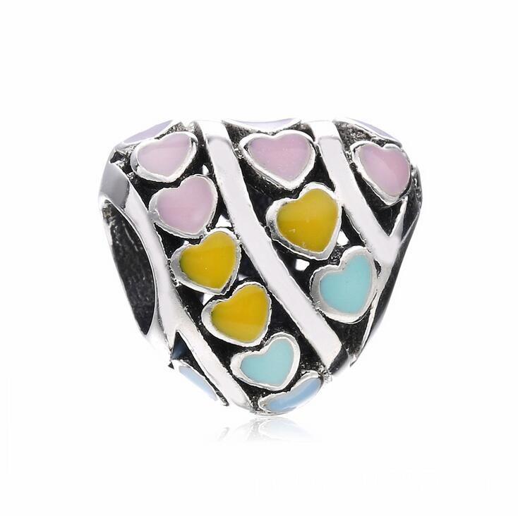 FITS Подвески Браслеты +2018 Весна Multi-Color сердца Шарм бусы оригинальные украшения 925 серебро DIY для женщин Изготовление оптом