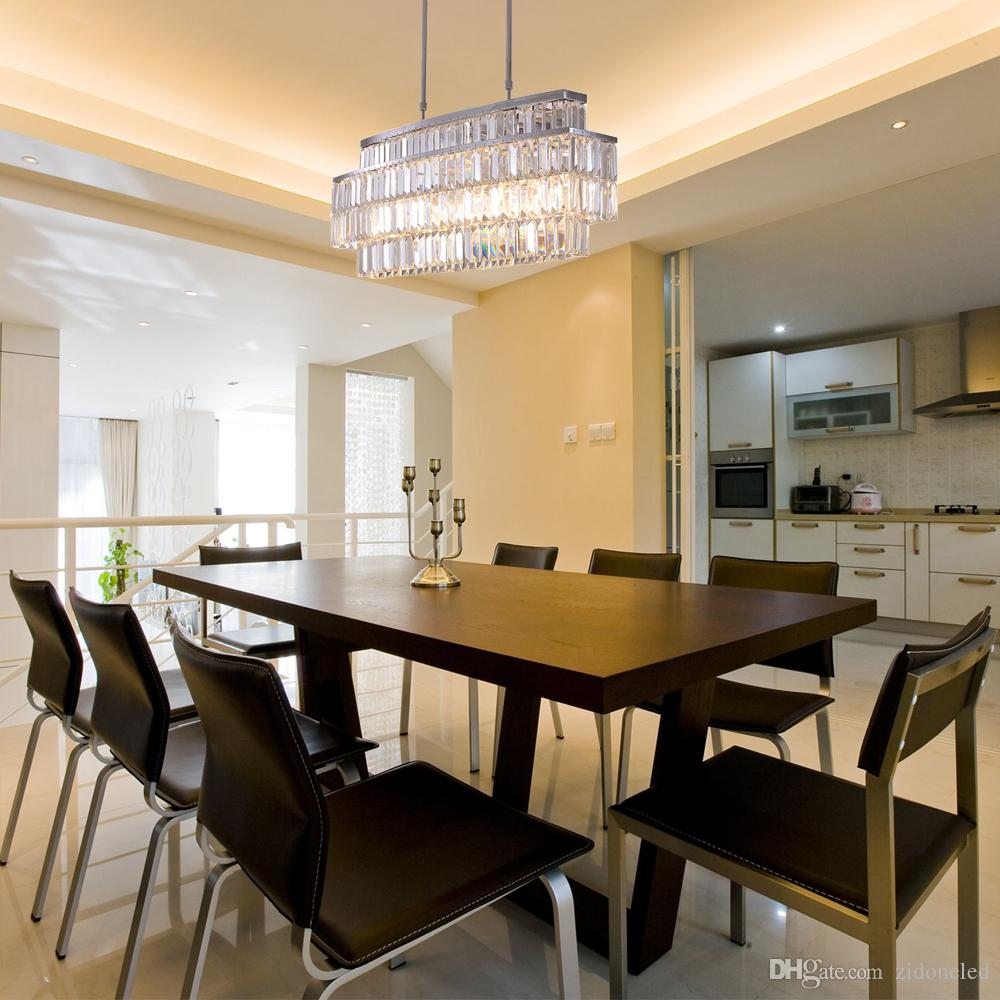 Modern Crystal Chandelier Rectangle Chandeliers Lighting Fixtures Luxurious Led Pendant Lighting Fixtures For Dining Room Chandelier With Fan Girls Room Chandelier From Zidoneled 207 68 Dhgate Com