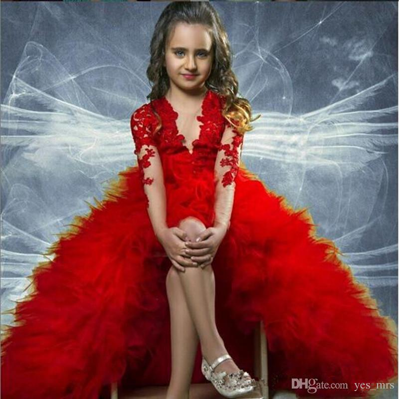 2018 Girls Pageant Dresses For Teens Dark Red Lace Appliques Long Sleeves High Low Tiered Ruffles Size 13 Party Children Flower Girl Gowns