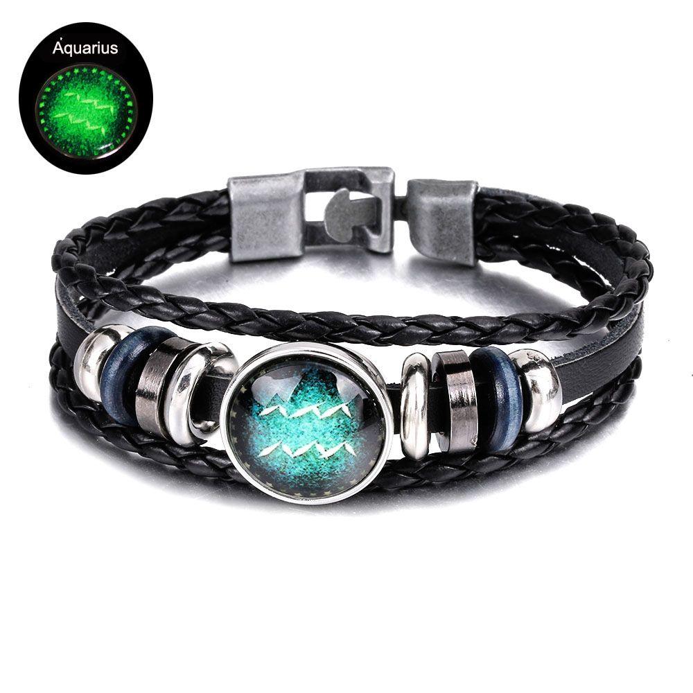 2019 Glow In The Dark Luminous 12 Constellations Bracelet Leather Bracelet  Men Casual Personality Zodiac Signs Punk Bracelet Wholesale Dropship From