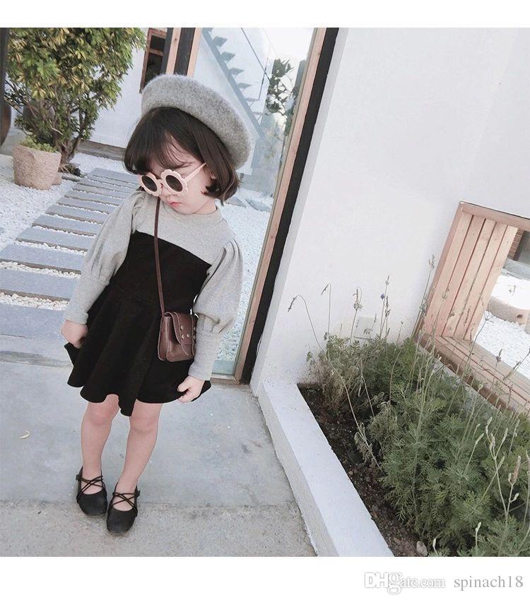 2018 otoño bebé vestido de las muchachas de los niños de la manga del soplo del remiendo de la muchacha vestido de la princesa niños ropa vestidos 4111