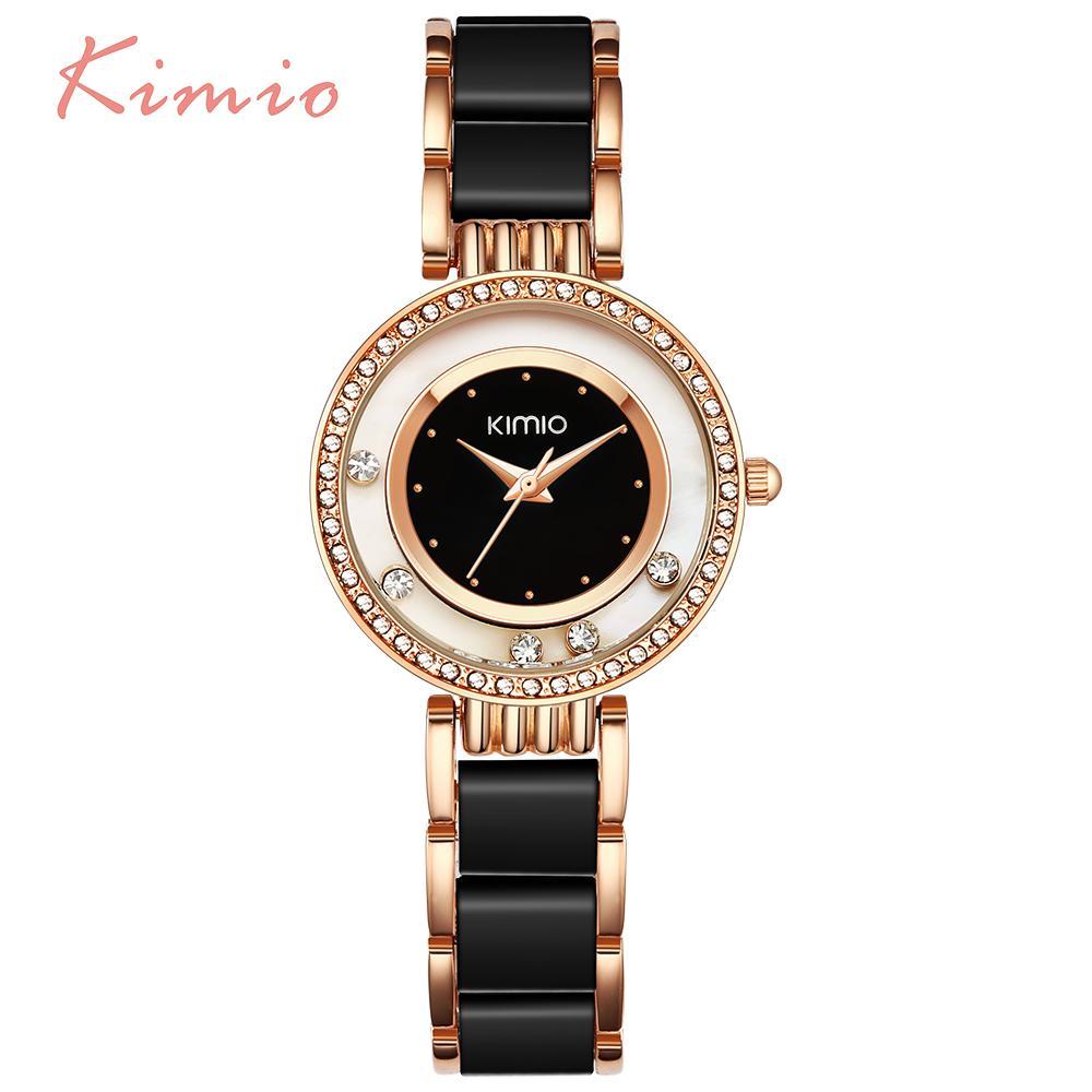 KIMIO Pearl Scale Crystal Diamond Rolling Bracelet Women's Watches Brand Luxury Fashion Ladies Watch Women Quartz-watch Clock Y18102310