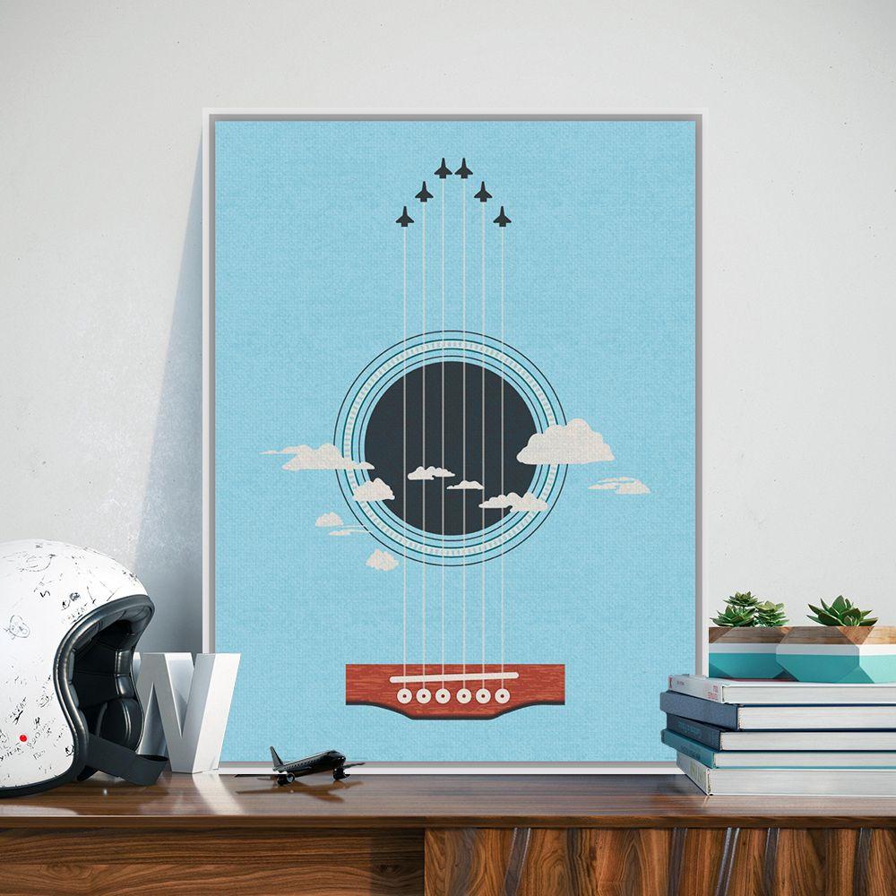 Modern Minimalist Karikatür Düzlem Uçan Gitar Dizeleri Rota Sanat Baskılar Poster Duvar Resim Tuval Boyama Ofis Dekor
